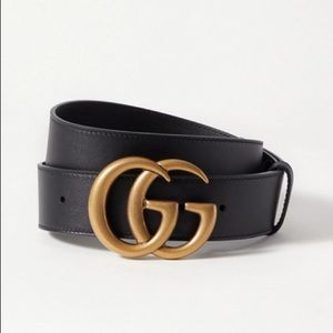 Black & Gold Gucci GG Belt 1""